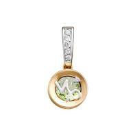 Золотой знак зодиака «козерог» с аметистом и фианитами ЮИП122-5669амз