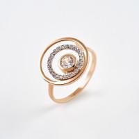 Золотое кольцо с фианитами ДИ018147
