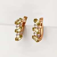 Золотые серьги с хризолитами и фианитами НЮ10202022135хр