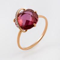 Золотое кольцо с кварцем и фианитами НЮ102020191448кврл