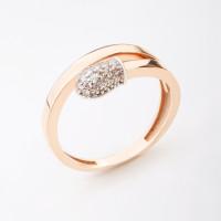 Золотое кольцо с фианитами ЖН16К50-МСР0159-РВ-ЦЗ