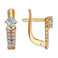 Золотые серьги с фианитами ДИ027458