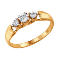 Золотое кольцо с бриллиантами ДИ1011341