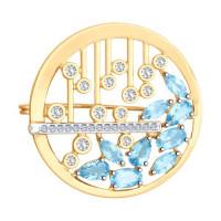 Золотая брошь с топазами и фианитами ДИ740223