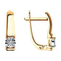 Золотые серьги с бриллиантами ДИ1021311