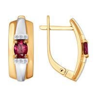 Золотые серьги с рубинами и бриллиантами ДИ4020376
