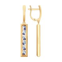 Золотые серьги подвесные с шпинелью, сваровски, фианитами и стеклом ДИ027731