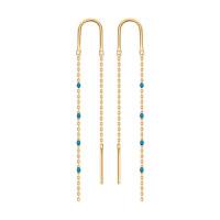 Золотые серьги протяжки с эмалью ДИ027790