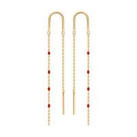 Золотые серьги протяжки с эмалью ДИ027791