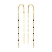 Золотые серьги протяжки с эмалью ДИ027792