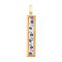Золотая подвеска с шпинелью, сваровски, фианитами и стеклом