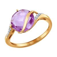 Золотое кольцо с аметистами и фианитами ДИ714134
