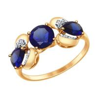 Золотое кольцо с корундами и фианитами ДИ714699