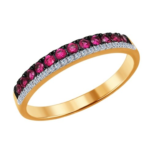 Золотое кольцо с рубинами и бриллиантами ДИ4010619