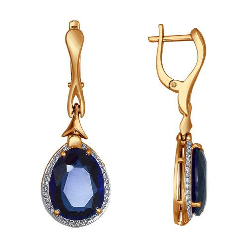 Золотые серьги подвесные с бриллиантами и корундами сапфирами ДИ6022013