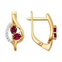 Золотые серьги с бриллиантами и рубинами ДИ4020210