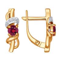 Золотые серьги с бриллиантами и рубинами ДИ4020194