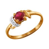 Золотое кольцо с бриллиантами и рубиным ДИ4010441