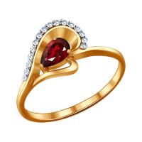 Золотое кольцо с рубиным и бриллиантами ДИ4010493