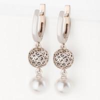 Серебряные серьги подвесные с жемчугом ЮХШС29
