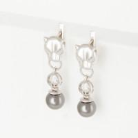 Серебряные серьги подвесные с жемчугом ЮХЖС06жч