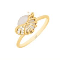 Золотое кольцо с жемчугом и фианитами ЖНСТКР3648
