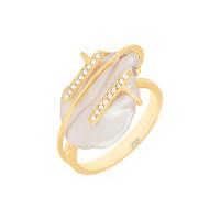 Золотое кольцо с жемчугом и фианитами ЖНСТКР3405