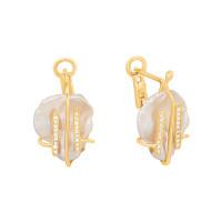 Золотые серьги с жемчугом и фианитами ЖНСТКЕ3405