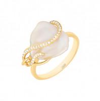Золотое кольцо с жемчугом и фианитами ЖНСТКР3384