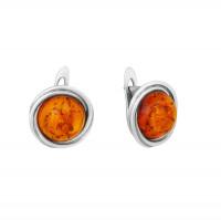 Серебряные серьги с янтарем 8М1052047