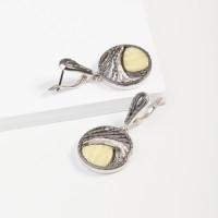 Серебряные серьги подвесные с янтарем 8М1065012005-1