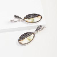 Серебряные серьги подвесные с янтарем 8М1065012001-3