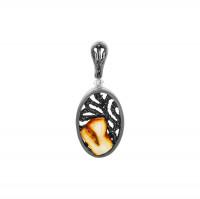 Серебряная подвеска с янтарем 8М1065013001-4