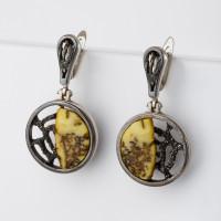 Серебряные серьги подвесные с янтарем 8М1065012005-3