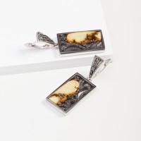Серебряные серьги подвесные с янтарем 8М1065012003-3