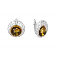 Серебряные серьги с янтарем 8М1072021