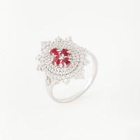 Серебряное кольцо с фианитами и гранатами  ИТ12140-409-9