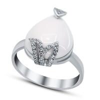 Серебряное кольцо с ониксами и фианитами