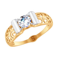 Золотое кольцо с фианитами ДИ017753