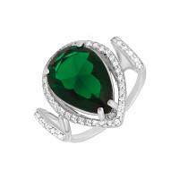 Серебряное кольцо с фианитами и алпанитами ПЮ261565зел