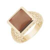 """Золотое кольцо с камнем """"кошачий глаз"""""""