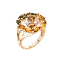 Золотое кольцо с бриллиантами и турмалинами ЛХ1-1081