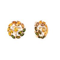 Золотые серьги с бриллиантами и турмалинами ЛХ2-1081