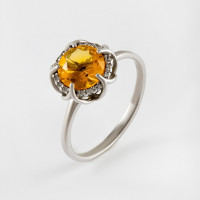 Серебряное кольцо с фианитами и цитринами синтами ИТ11032-440-9
