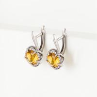 Серебряные серьги с фианитами и цитринами синтами ИТ21032-440-9