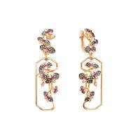 Золотые серьги подвесные с аметистами и бриллиантами ЛХ02-01210-01-035-01-02