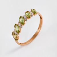 Золотое кольцо с хризолитами и фианитами НЮ10202012135хр