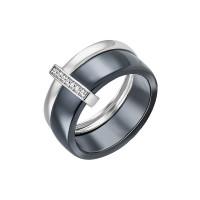 Серебряное кольцо с керамикой и фианитами СЫ01СР2078б-130
