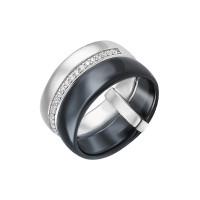 Серебряное кольцо с керамикой и фианитами СЫ01СР2077б-130