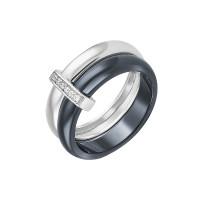 Серебряное кольцо с керамикой и фианитами СЫ01СР2069б-130
